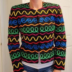 Maggy London Vintage 90s Blazer Rainbow Jacket